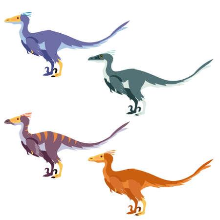 carnivore: Vector image of a set with carnivore dinosaurs like raptors Illustration