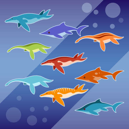 jurassic: Vector image of a Set of water jurassic reptiles