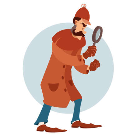 disclose: Vector image of a cartoon flat detective with magnifying glass