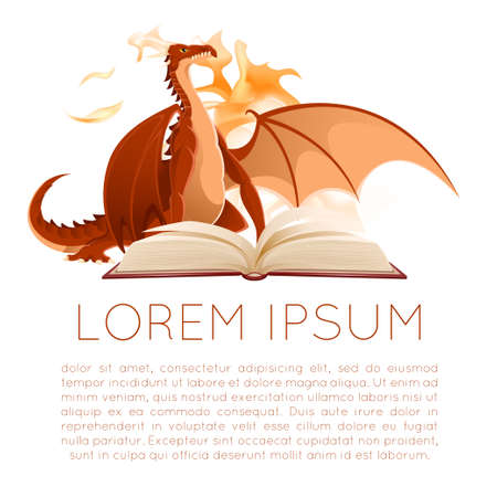 Vector image of a a opened book with dragon Illustration