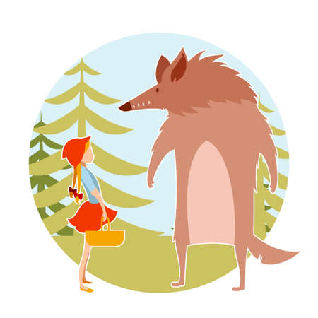 little red riding hood: Vector image of a Redhood girl  and the wolf