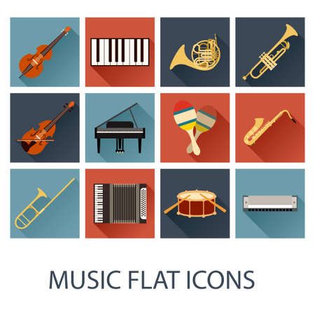 image of set of flat music icons
