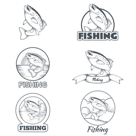 salmon leaping: image of set of black and white trout banners