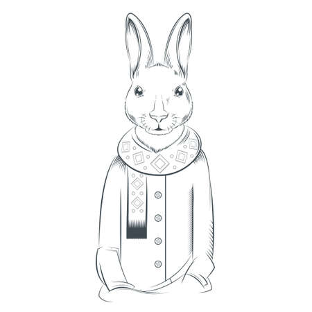 anthropomorphism: image of a black and white hare with coat and scarf