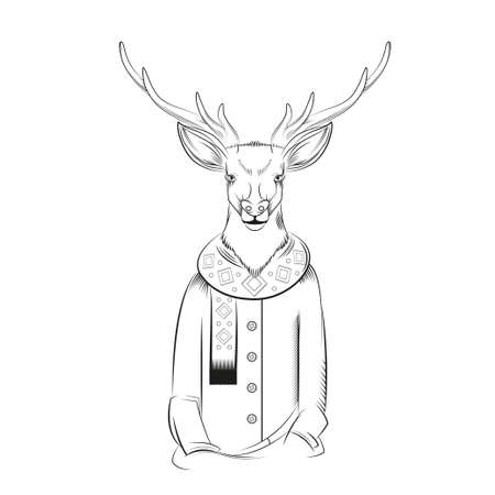 anthropomorphism: image of a black and white deer with coat and scarf