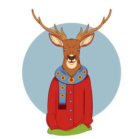 anthropomorphism: image of a colourful winter deer with coat and scarf