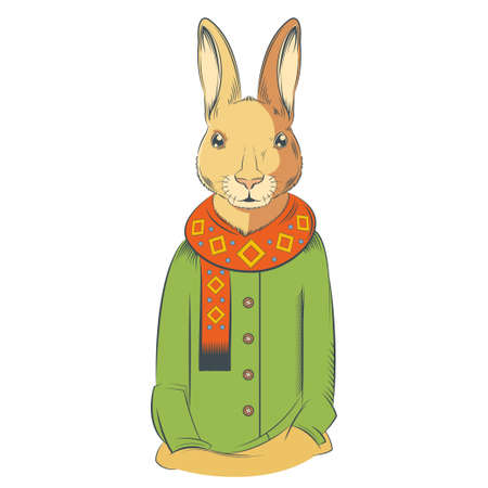 anthropomorphism: image of a colourful winter hare with coat and scarf Illustration