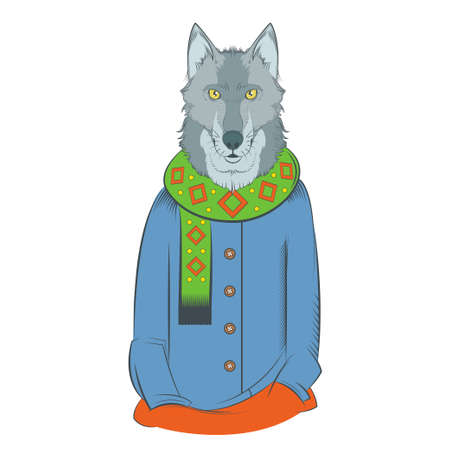 cool boy: image of a colourful winter wolf with coat and scarf Illustration