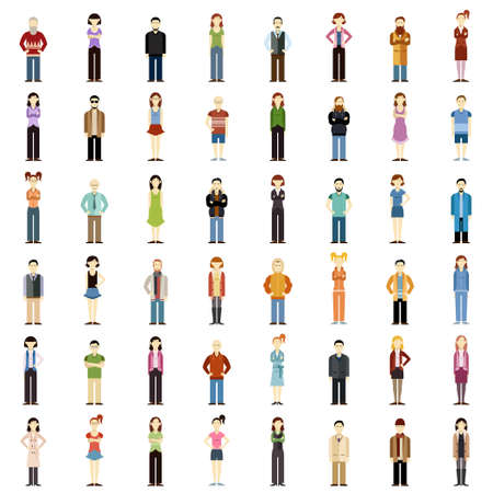 image of a set of people flat icons