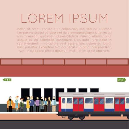 bewegung menschen: Bild von ein Banner mit U-Bahn und die Leute auf der Station Illustration