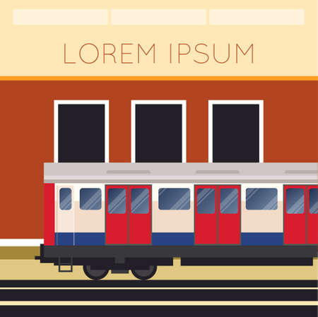 train station: Vector image of a banner with subway train and the station