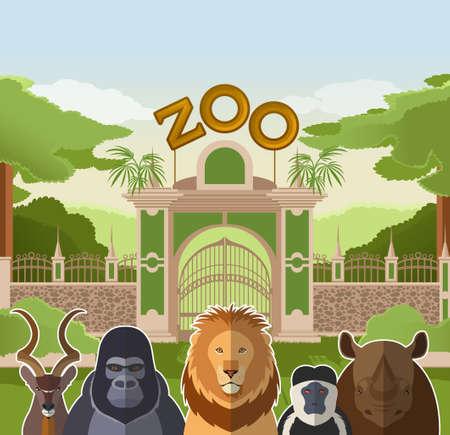 animaux zoo: image d'une porte de zoo avec des animaux plats africains Illustration