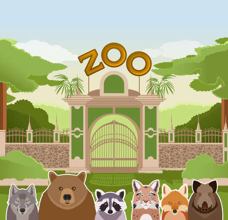 entrance: image of a zoo gate with forest flat animals