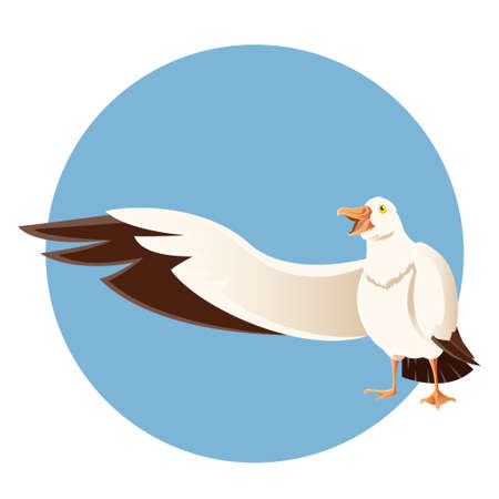 sea bird: Vector image of a happy greeting albatross on the blue background