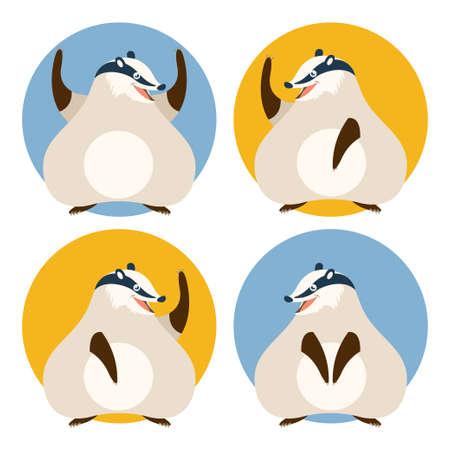 kiddish: image of a set of cartoon badgers Illustration