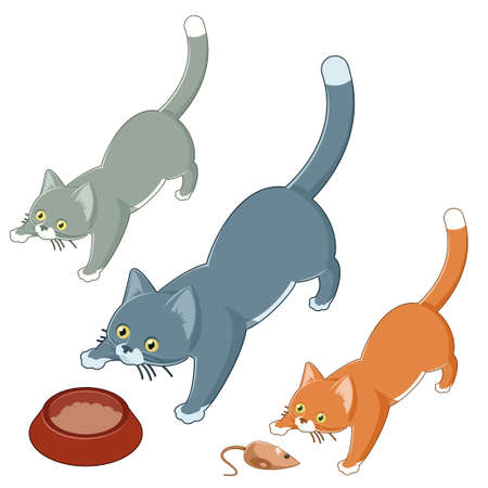 cats playing: Vector image of a set of isometric playing cats Illustration