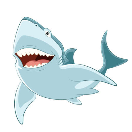 animal teeth: Vector image of a happy cartoon shark