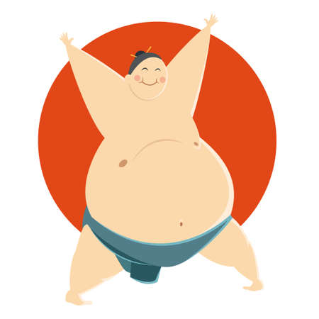 wrestle: Vector image of a fat happy Sumo fighter