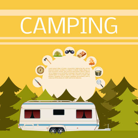 car road: Vector image of a banner of Camping in the forest