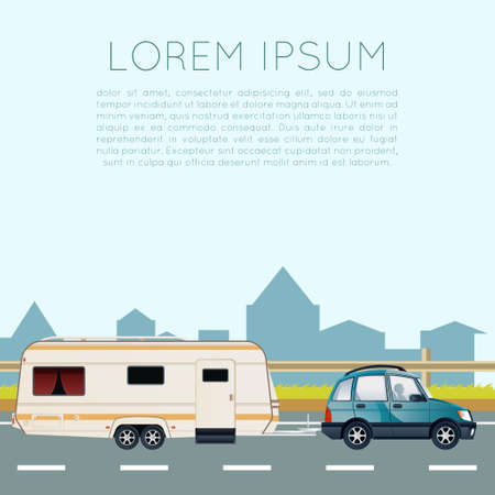vacation home: Vector image of a banner with trailer trip
