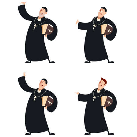 priests: Vector image of a Set of Catholic priests