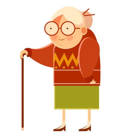 Vector beeld van een tekenfilm oude grootmoeder Stock Illustratie
