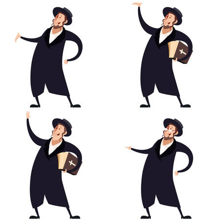 rabbi: Vector image of a Set of Jews Illustration