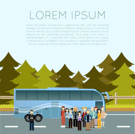 coach bus: Vector image of a banner of trip by bus
