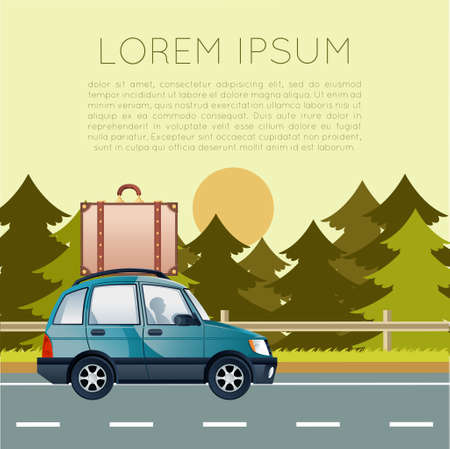 family vacation: Vector image of a banner with car trip Illustration