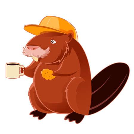 castor: Imagen del vector de un castor y la taza de café