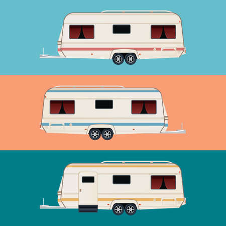 family park: Vector image of a set of diffirent colour trailers