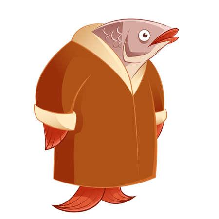 image vectorielle d'un hareng dans un manteau de fourrure