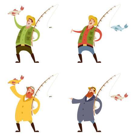 recreational pursuit: Vector image of a Set of fishermans