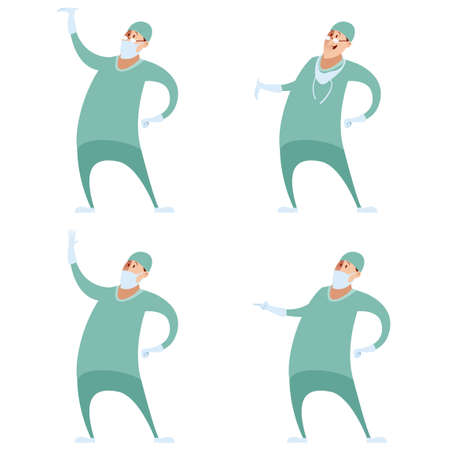podiatrist: Vector image of a Set of surgeons