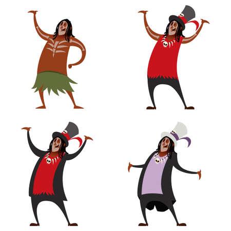Vector image of a Set of voodoo sorcerers Ilustração Vetorial