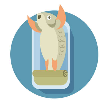Vector image of a canned cartoon fish