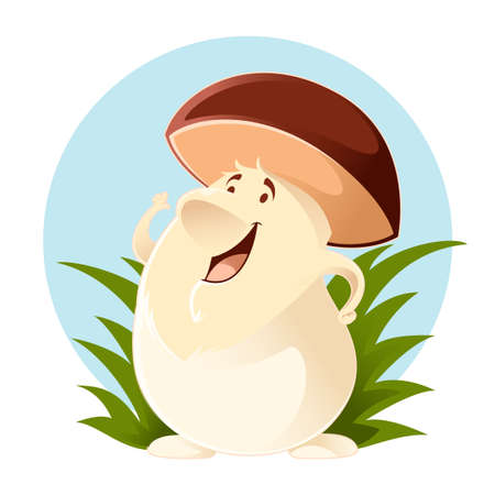 Vector image of a happy cartoon Mushroom Illustration