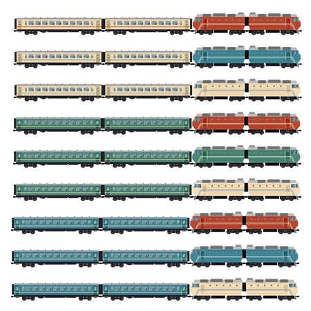 sleeping car: Vector image of a Set of passanger trains Illustration