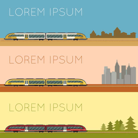 Vector image of a Set of suburban train banners