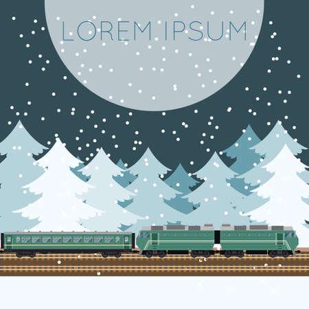 treno espresso: Vector immagine di un treno nella foresta banner