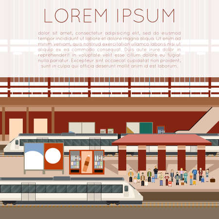 modern train: Vector image of a station for trains Illustration