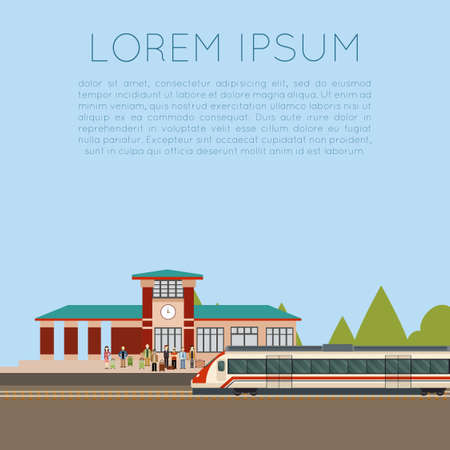 suburban: Vector image of a suburban train station Illustration