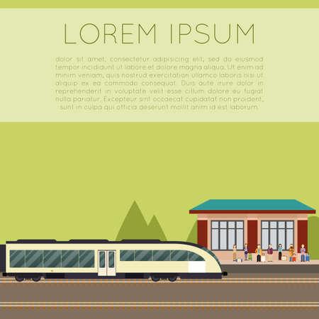 train station: Vector image of a suburban train station Illustration