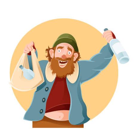 Vector image of a cartoon happy Bum Illustration