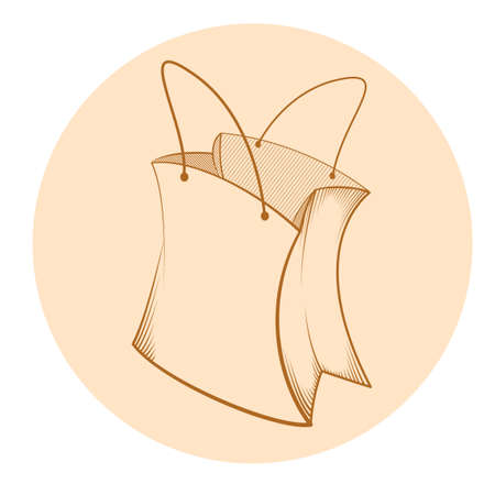 Vector image of a sketch of paper bag Illustration