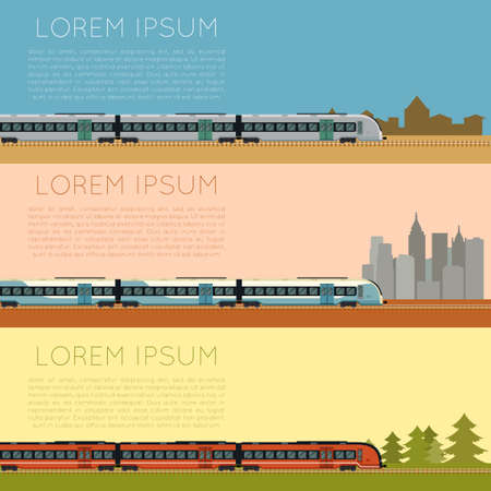 Vector image of a Set of commuter  train banners Illustration