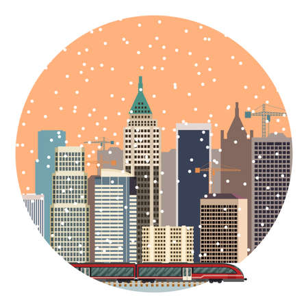 Vector image of a train in the city banner
