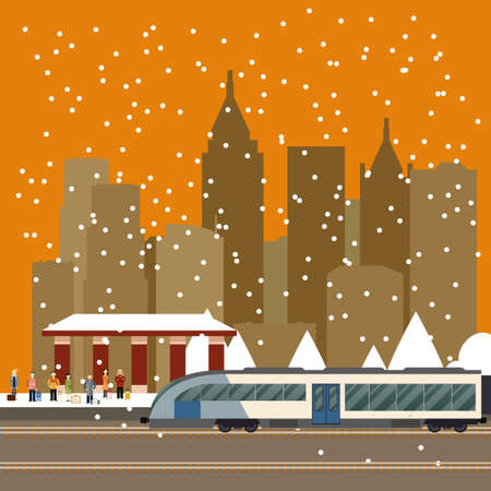 Vector image of a suburban train station Illustration