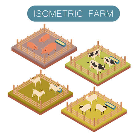 Vector image of an Isometric farm animals set