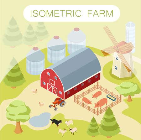 henhouse: Vector image of an  Isometric farm banner Illustration
